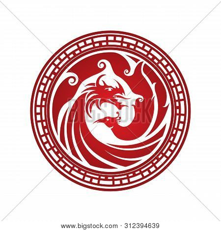 Dragon and Phoenix logo, China style vector.