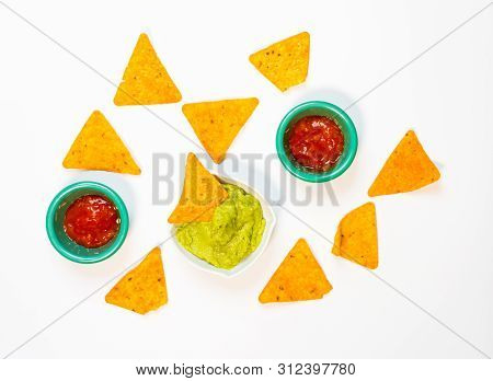 Nachos With Guacamole On A White Background. .