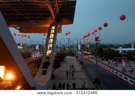 China, Guangzhou, 15-10-2018. Guangzhou Cantonese Exhibition Fair, Iron Building, The Entrance To Th