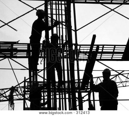 Bouw werknemers silhouet