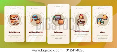 Cipher Onboarding Mobile App Page Screen Icons Set. Information Encryption Thin Digital Security Pic