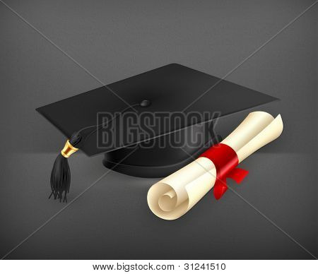 Graduation cap and diploma, vector