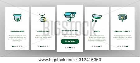 Surveillance Cameras, CCTV Linear Onboarding Mobile App Page Screen. Security System, CCTV. Home Safety Equipment. Wall, Ceiling Surveillance Cam Types Outline Symbols poster