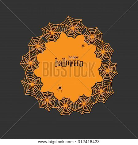 Lace Doily Lasercut Paper Halloween Theme Round Spiderweb And Spider Pattern Banner Round Doily With