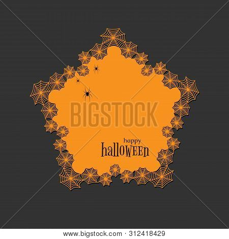 Lace Doily Lasercut Paper Halloween Theme Round Spiderweb And Spider Pattern Banner Pentagon Doily W