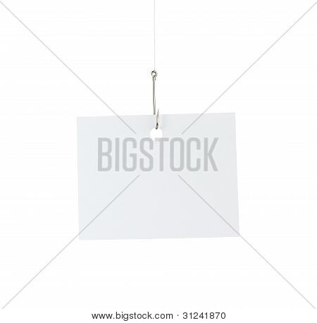 Blank Paper Note At The Fishing Hook