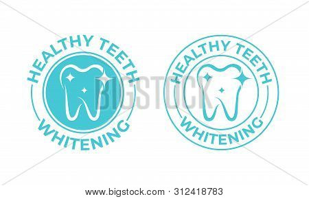 Teeth Whitening, Tooth Vector Icon. Healthy Safe Tooth Whitening Logo, Toothpaste And Dental Mouthwa