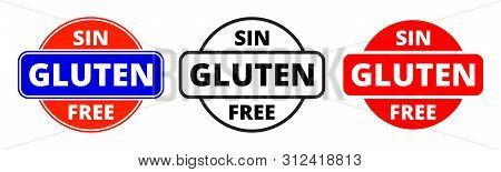 Gluten Free Icon, Spanish Sin Gluten Food Package Stamp. Vector Gluten Free Healthy Products Package