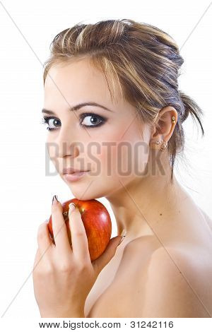 Beautiful Girl  With Red Apple.