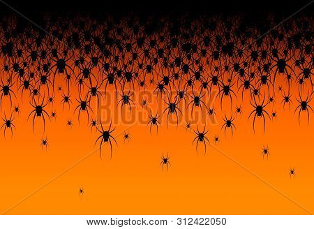 Halloween Theme Many Black Spiders On An Orange Background Header Creative Design Of Web Site Banner