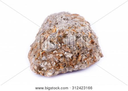 Stone Macro Mineral Arsenopyrite On A White Background