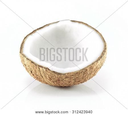 Coconut Isolated On White Background, Healthy And Medical