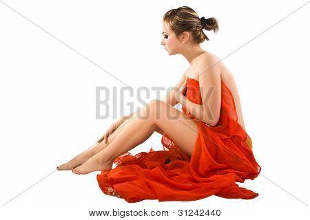 Beautiful Girl  With Red Silk.