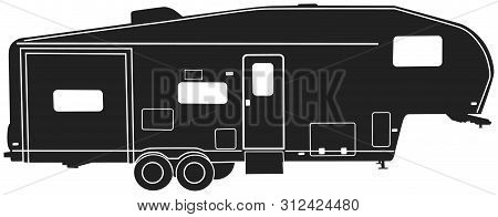 5th Wheel Travel Trailer Black Vector Silhouette Clip Art Image
