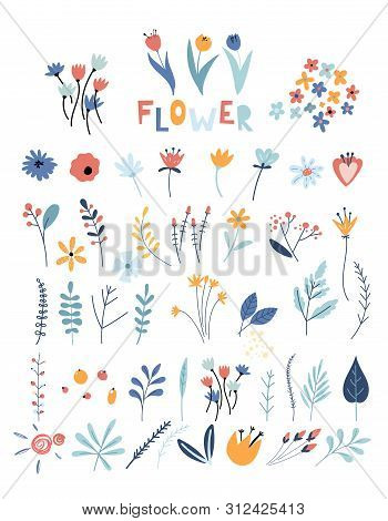 Set Of Flowers And Floral Elements. Early Spring Forest And Garden Flowers Isolated On White Vector