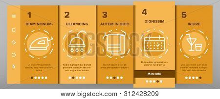 Hotel Accommodation, Room Amenities Onboarding Mobile App Page Screen Hostel Services And Possibilities, All Inclusive Lineart Design. Apartment, Hotel Booking Reservation Features Illustration poster