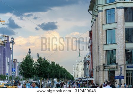 Stormy Sky With Dark And Orange Clouds, 06/22/2019, Moscow, Russia.