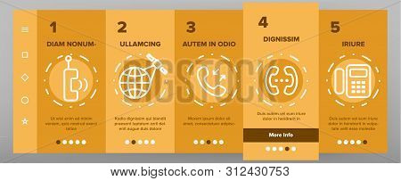 Global Telephony System Linear Onboarding Mobile App Page Screen. Telephony, Mobile Technology Thin