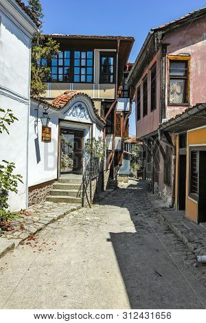 Plovdiv, Bulgaria - June 10, 2017: House From The Period Of Bulgarian Revival And Street In Old Town
