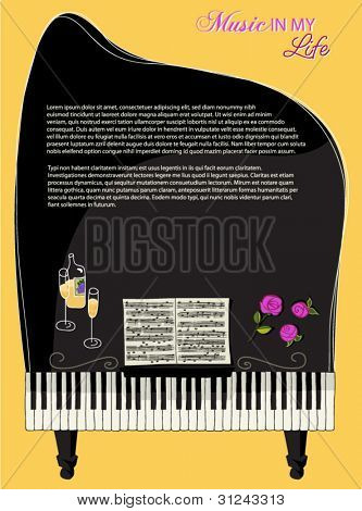 Musical Background - Concert Piano, with sheet music, keyboard, roses and champagne, as a backdrop for a music-themed layout, greeting card or website and blog template