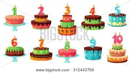 Cartoon Birthday Cake Numbers Candle. Anniversary Candles, Celebration Party Cakes. Kindergarten Par