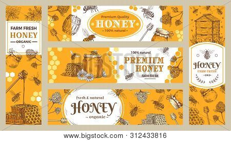 Honey Banner. Healthy Sweets, Natural Bees Honey Pot And Bee Farm Products Banners. Bees Wax Or Hone