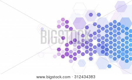 Abstract Hexagonal Molecular Grid. Medicine Research, Chemistry Molecule Structure And Hex Pattern.