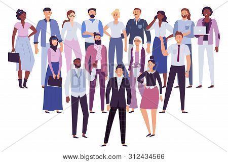 Professional People Team. Business Persons Group, Society Leadership And Office Workers Crowd. Multi