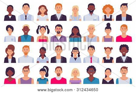 Adult People Avatars. Man In Business Suit, Corporate Woman Avatar And Professional Person. Face Ava