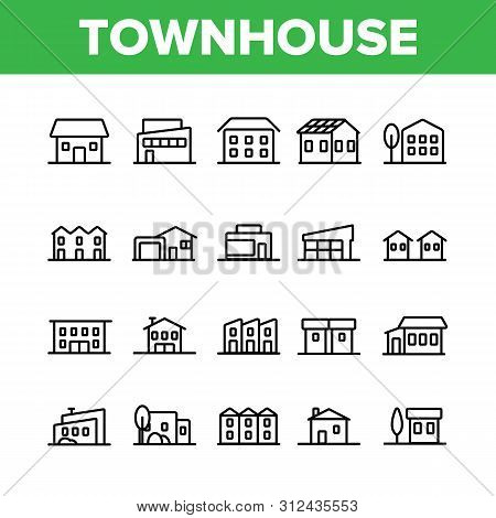 Townhouses, Residential Buildings Linear Icons Set. Townhouse, Cottage And Villa Outline Symbols Pac