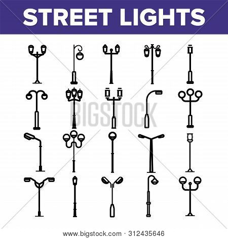 Street Lights Linear Icons Set. Streetlights Thin Line Contour Symbols Pack. City Illumination Picto