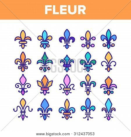 Fleur De Lys, Royalty Linear Icons Set. Fleur, French Lily Thin Line Contour Symbols Pack. Ornate Exterior Decoration Pictograms Collection. Traditional Floral Insignia Outline Illustrations poster