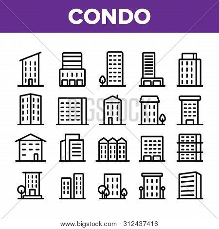 Dwelling House, Condo Linear Icons Set. Condo, Apartment Buildings Thin Line Contour Symbols Pack. R