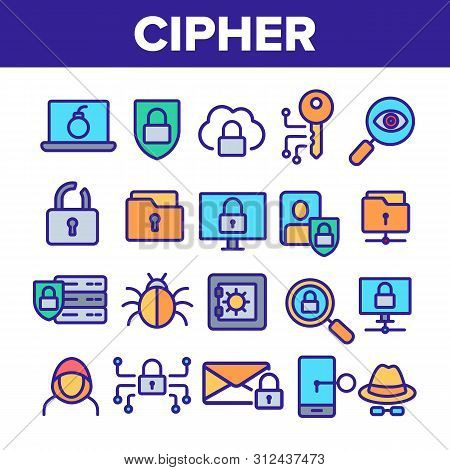 Cipher Linear Icons Set. Information Encryption Thin Line Contour Symbols Pack. Digital Security Pic
