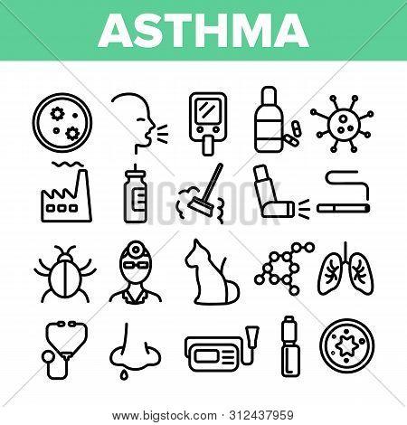 Asthma Illness Thin Line Icons Set. Asthma Medical Condition Symptoms Contour Symbols. Asthmatic Dis