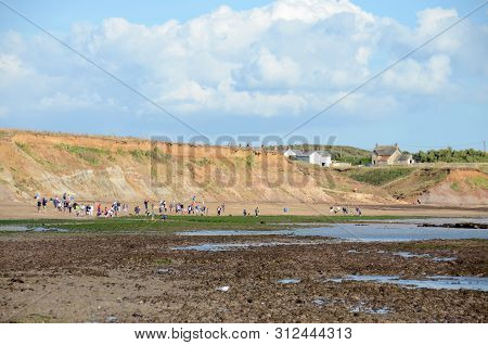 People Looking For Fossils And Dinosaur Footprints At Compton Bay, Isle Of Wight