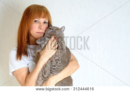 Blond Or Red Hair Mature Senior Female Relaxing At Home Holding And Huging Cute Purring Cat. Attract