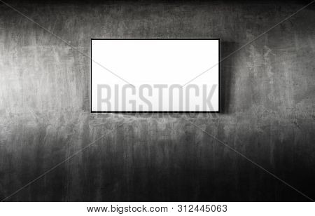 Black Led Tv Television Mockup Blank On Gray Concrete Background. Living Room Led Tv On Concrete Wal