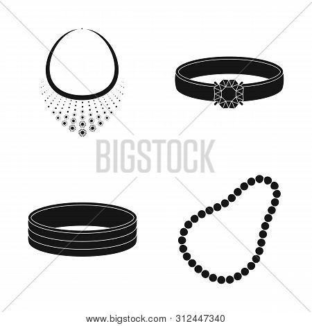bitmap design of jewelery and necklace symbol. Collection of jewelery and pendent stock bitmap illustration. poster