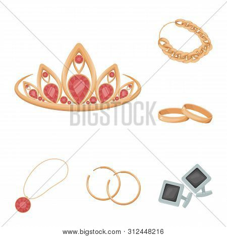 Isolated object of jewelery and necklace icon. Collection of jewelery and pendent stock symbol for web. poster