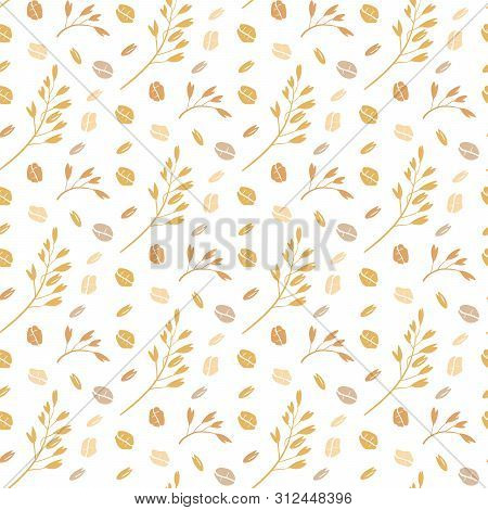 Oat Pattern Vector. Seamless Pattern With Oat Flakes On White Background. Hand Drawn Illustration. S