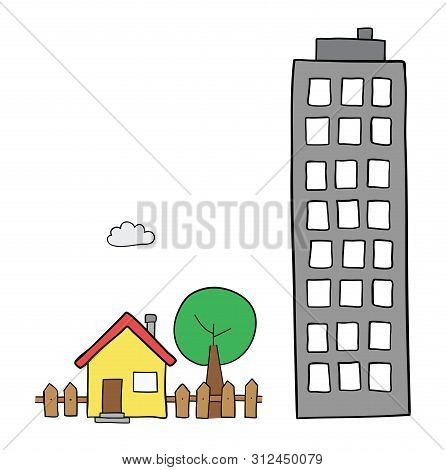 Vector Hand-drawn Illustration Of Detached House With Garden, Tree And Tall Building. Black Outlines
