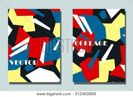 Trendy cover with graphic elements - abstract shapes. Two modern vector flyers in avant-garde  style. Geometric wallpaper for business brochure, cover design. poster