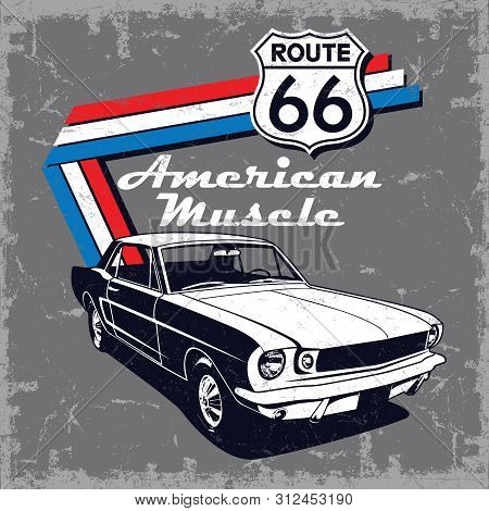 American Muscle Car Route 66 Vector Graphic Design