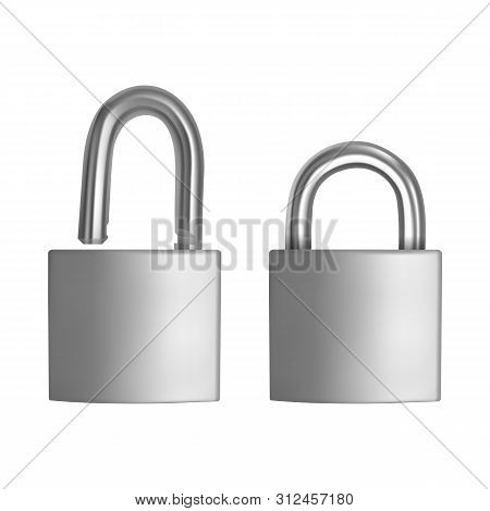 Two Realistic Icons Silver Padlock In The Open And Closed Position, Isolated On White Background, Ve
