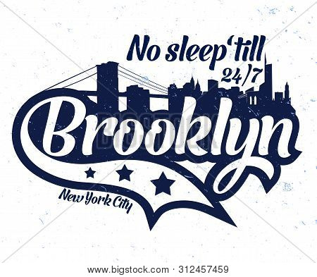 No Sleep Untill 24/7 Vector Graphic Design.new York Slogan Graphic For T-shirt With City Skyline.typ