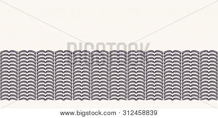Hand Drawn Folk Art Christmas Stripes Border Pattern. Small Curved Gold Stripes Waves On White Backg