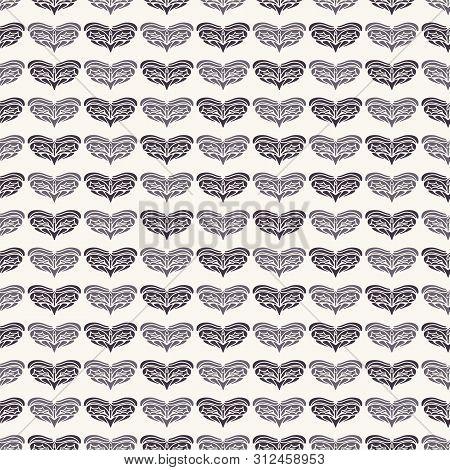 Hand Drawn Christmas Foliage Heart Pattern. Stylized Love Motif. White Ecru Background. Cute Winter