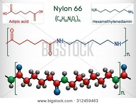 Nylon 66 Or Nylon Molecule. It Is Plastic Polymer. Structural Chemical Formula And Molecule Model