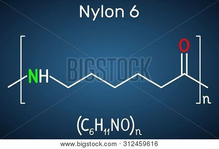 Nylon 6 Or Polycaprolactam Polymer Molecule. Structural Chemical Formula On The Dark Blue Background